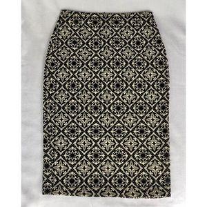 ZARA White and Black Textured Skirt